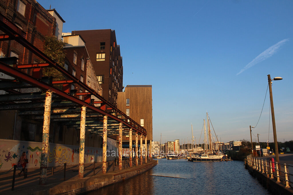 A view of the Ipswich Wet Docks at sunset.