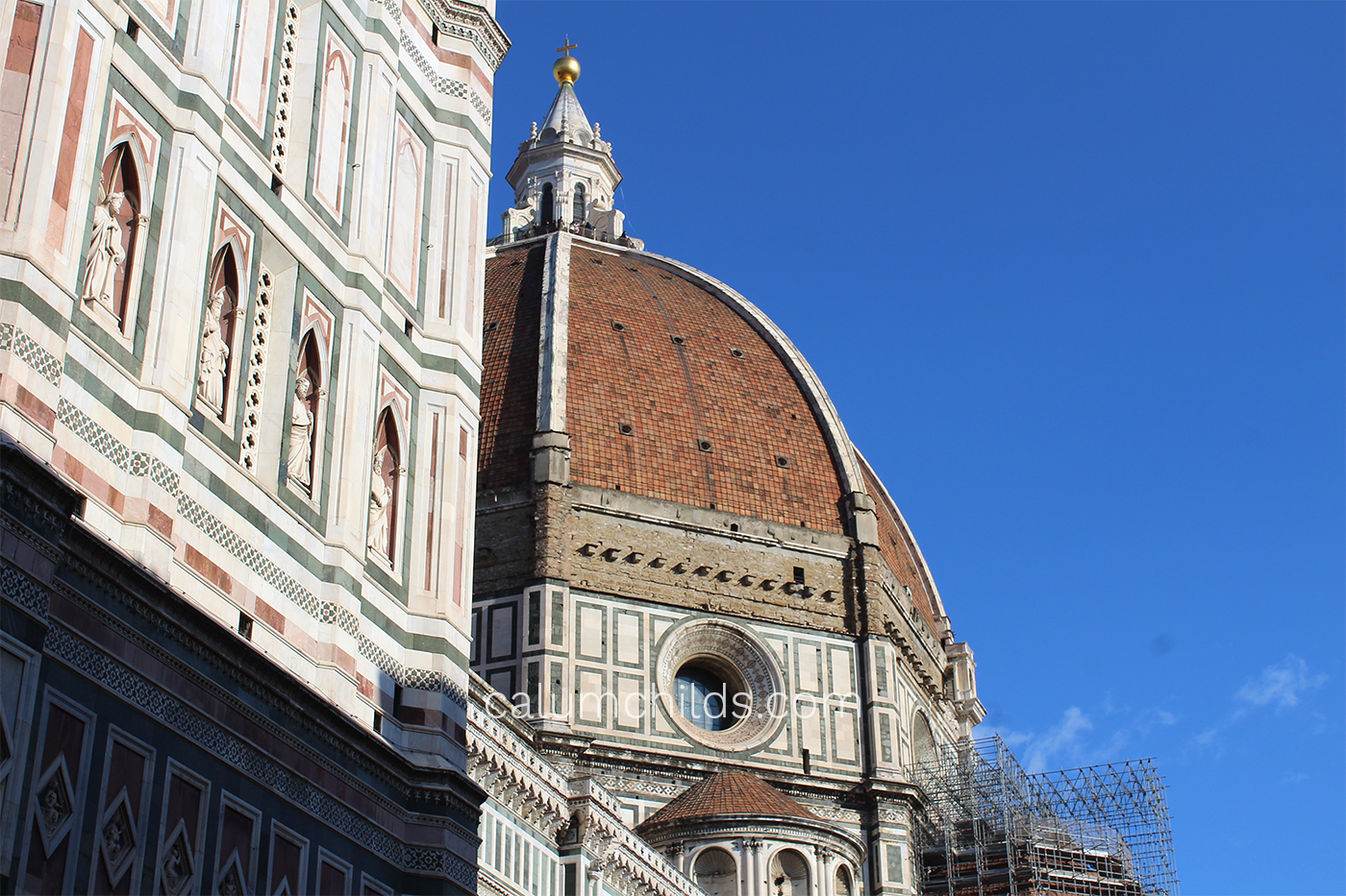 Part of the large red dome of the Florence Cathedral.